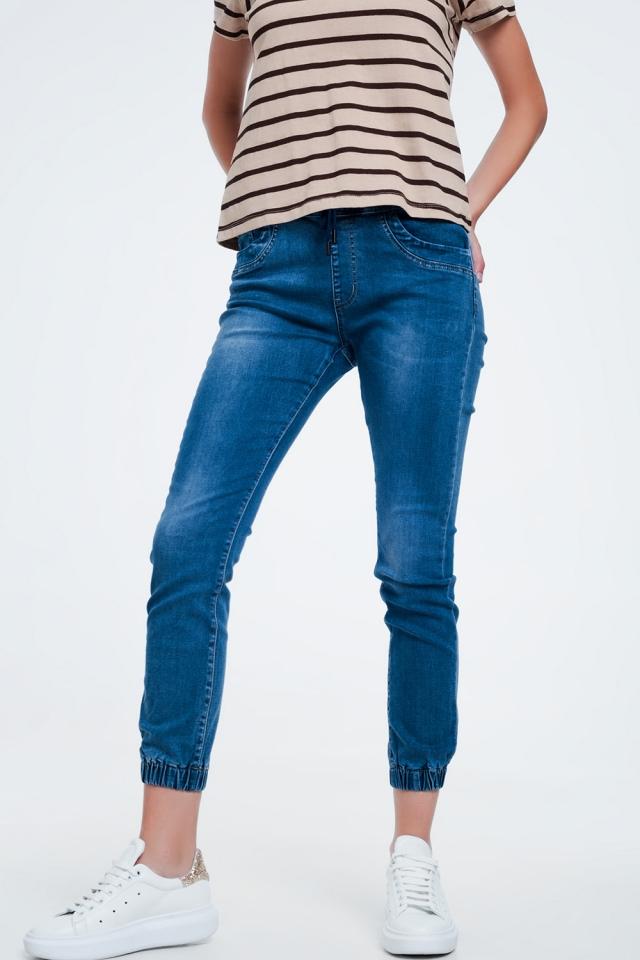 Smalle jeans in joggingstijl blauw