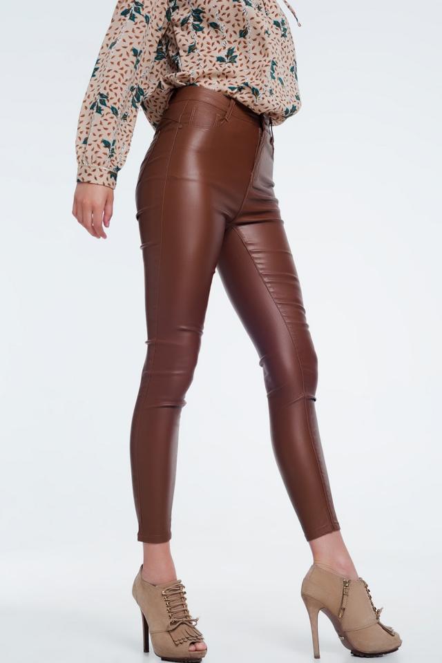 kinny-fit broek met hoge taille bruine