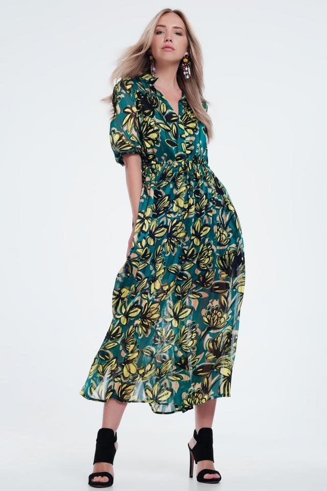 Groen Aangerimpelde lange jurk met bladprint