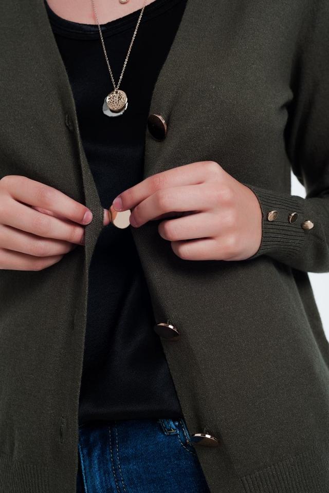 Kaki Vest met knoopdetail