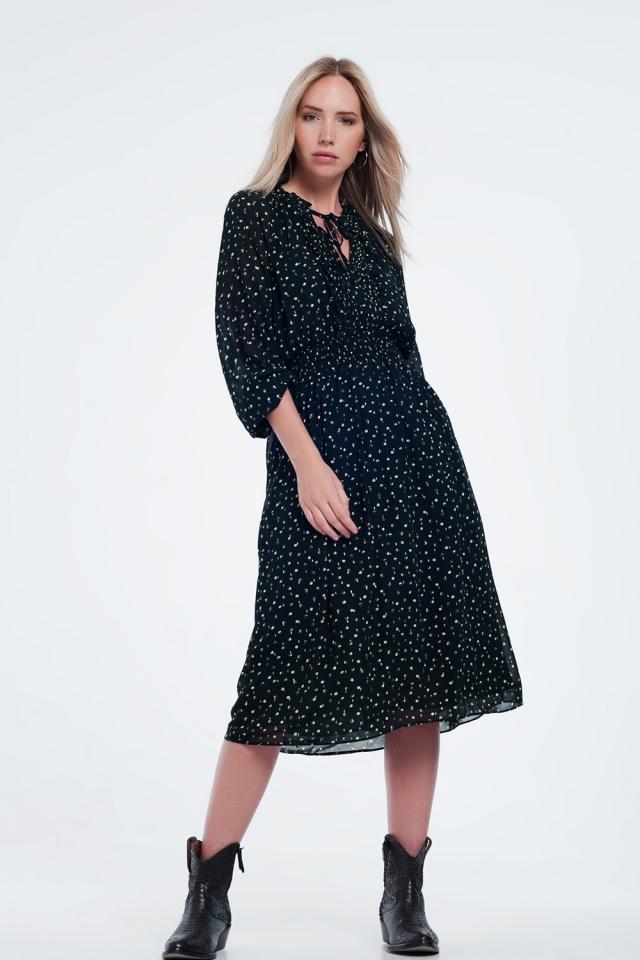 Halflange plissé jurk met elastische taille en stippen