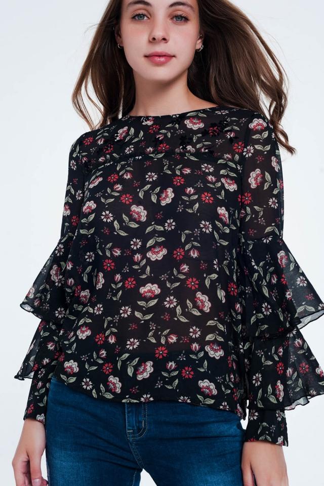 blouse met gelaagde ruche lange mouwen en bloemenprint