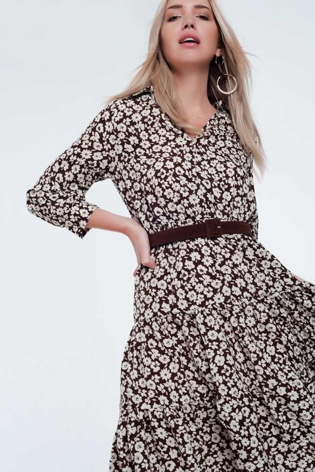 Midi-jurk met riem, geplooide rok en vintage bloemenprint