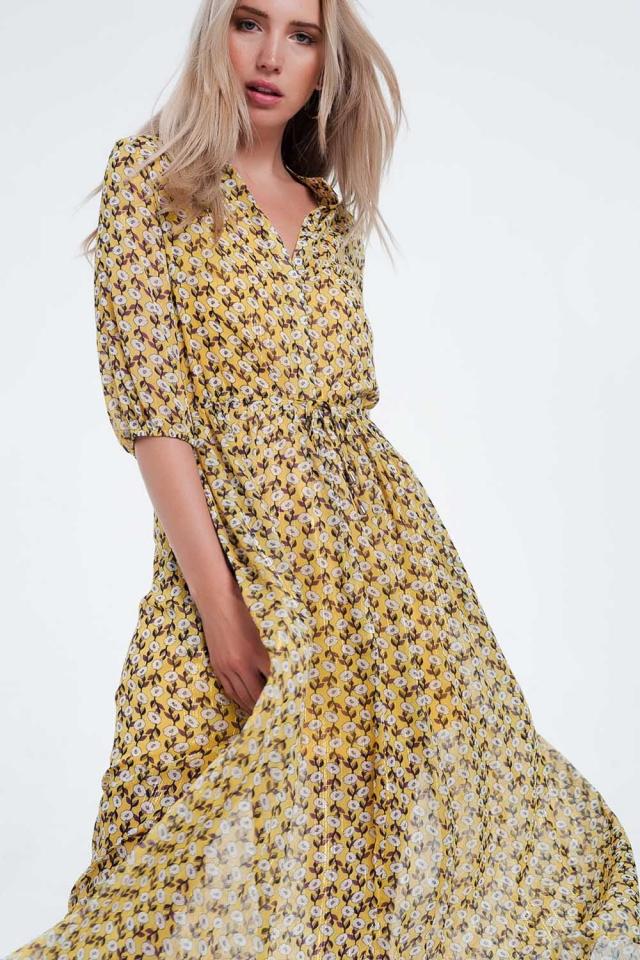 Gele Gebloemde maxi-jurk met lange mouwen