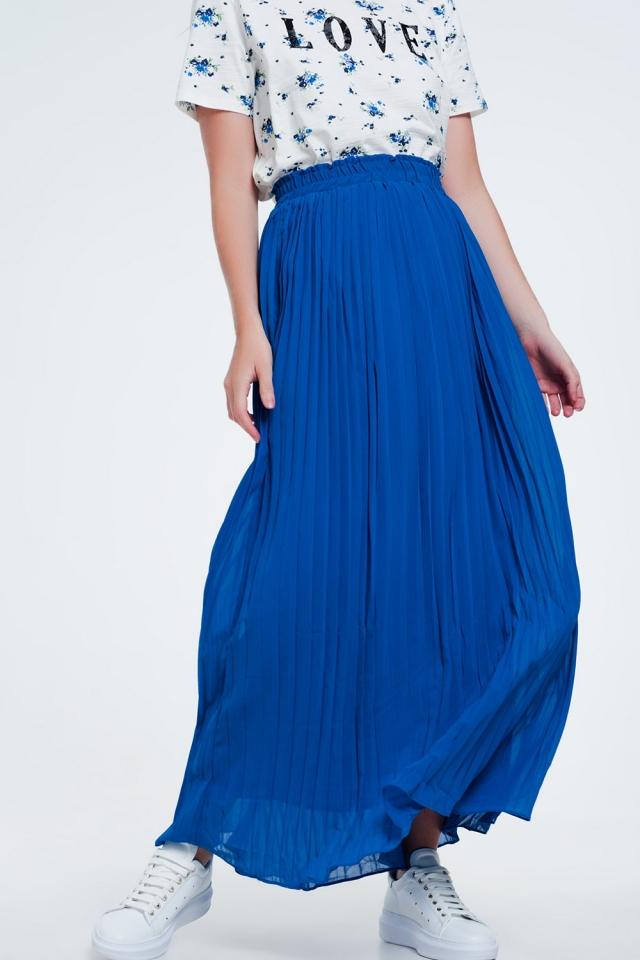 Lange geplooide rok in blauw kleur