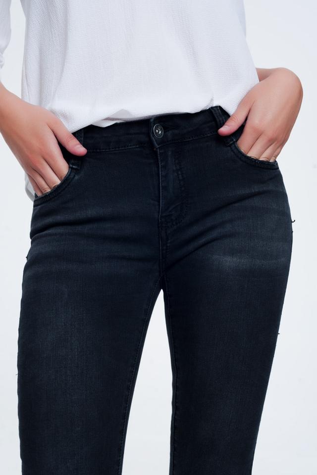 skinny jeans in zwarte wassing