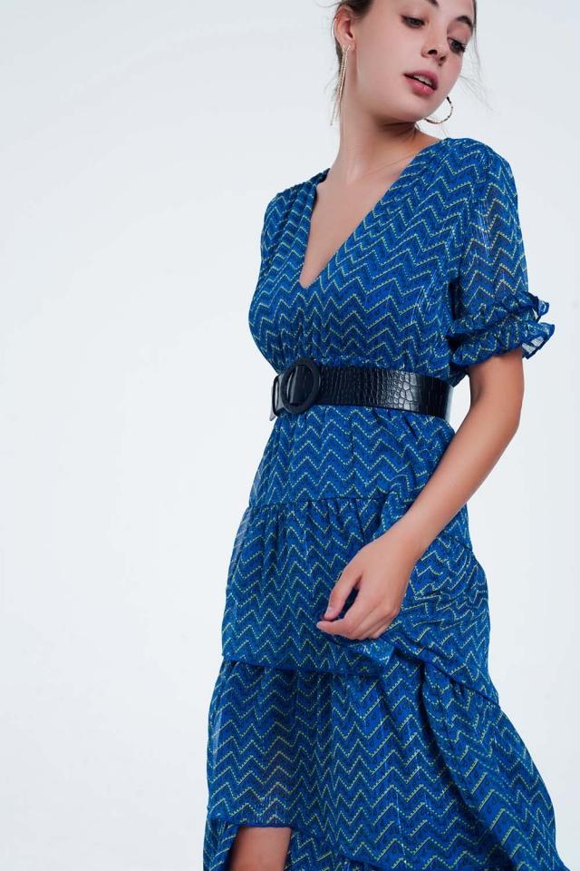 Blauw Lange jurk met ruchelagen
