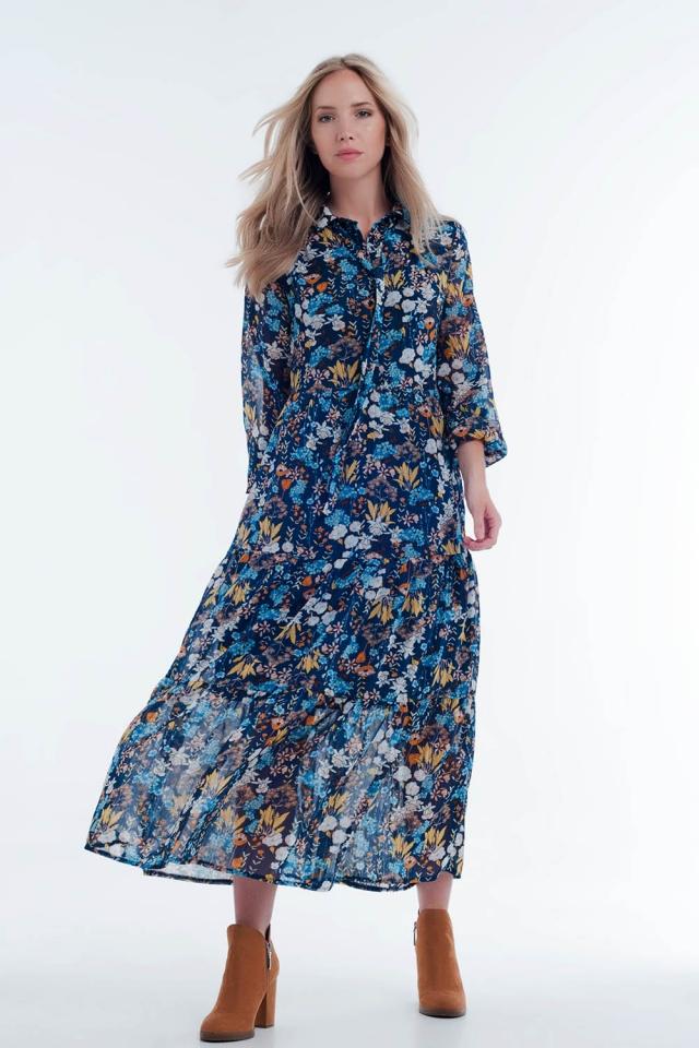 Blauwe Midi-overhemdjurk met doorschijnende lagen in bloemenprint