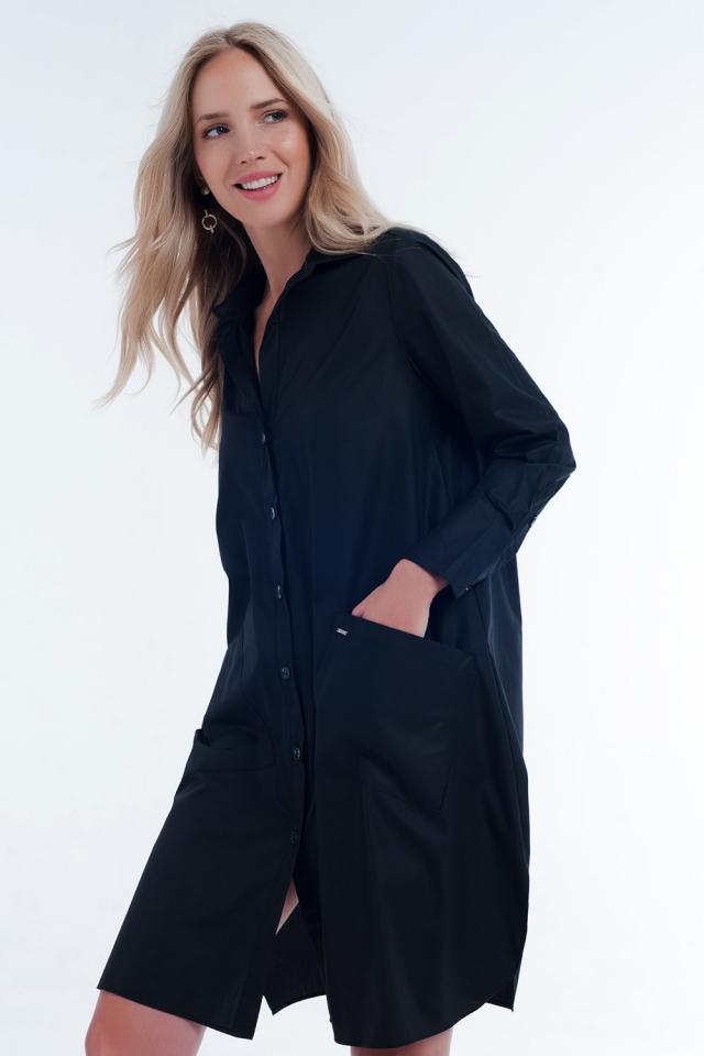 Halflange utility-overhemdjurk met zakken in zwart