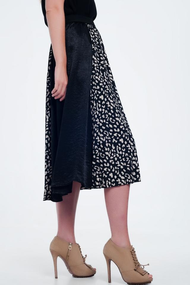 zwarte  Midaxi-rok met dalmatiërstippen