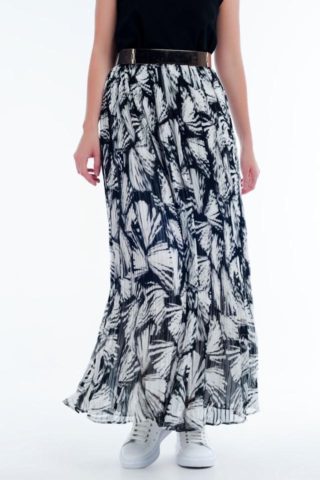 Lange rok met abstracte print in wit en zwart