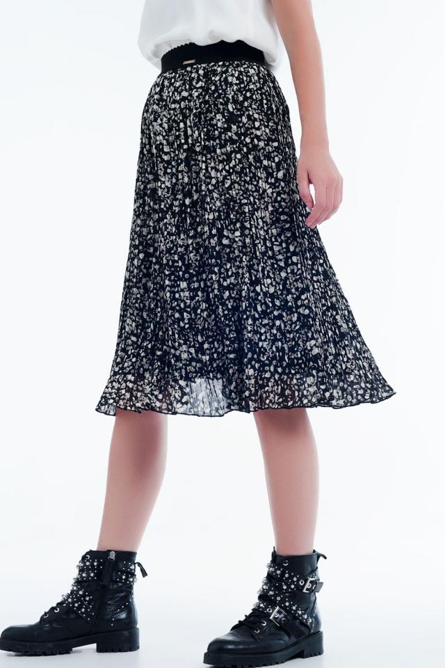 Geplooide midi-rok met print zwart