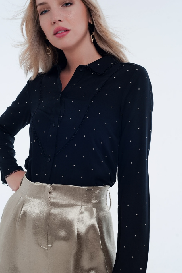 zwart blouse Oranje met lange mouwen en kraagdetail
