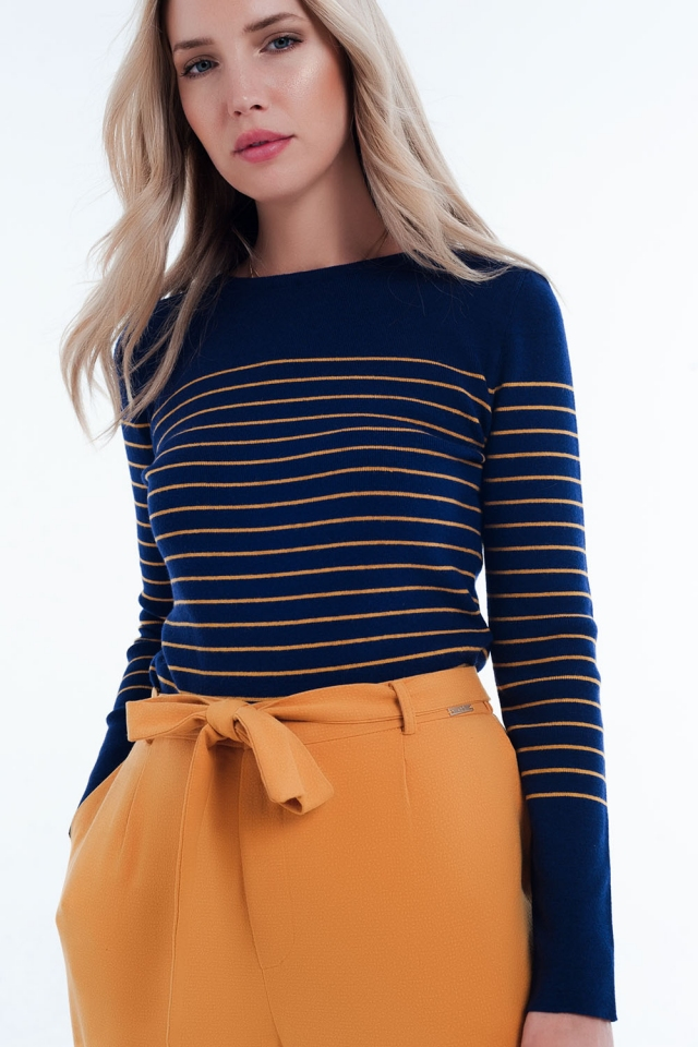 blauwe marine gestreepte trui met ronde hals
