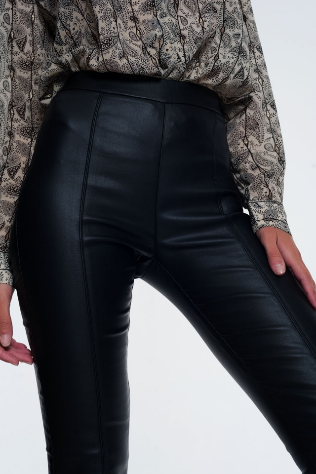 Legging in leerlook met elastische taille super skinny