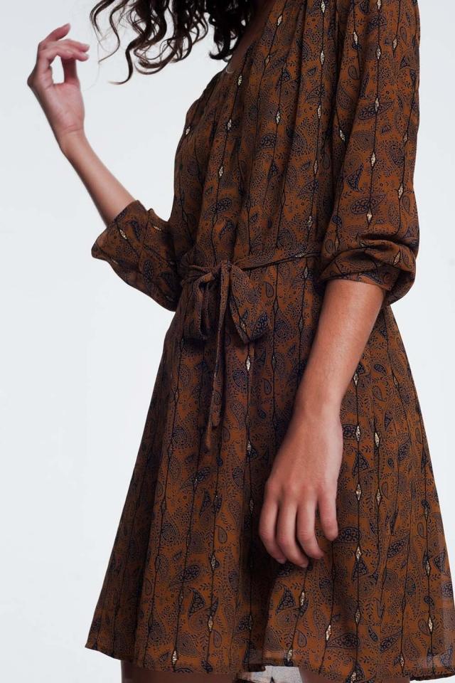 jurk met taille gordel in jacquard print