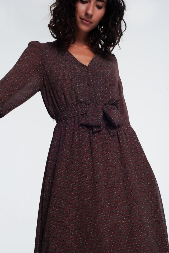 Brown jurk met lange mouwen knopen en aangerimpelde taille