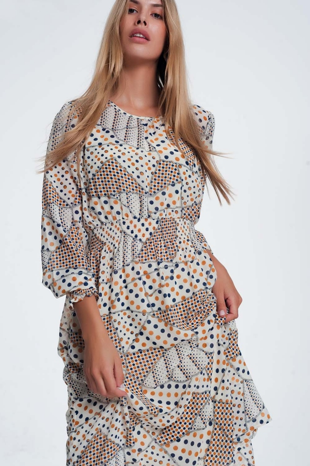shirred waist and cuff print maxi dress