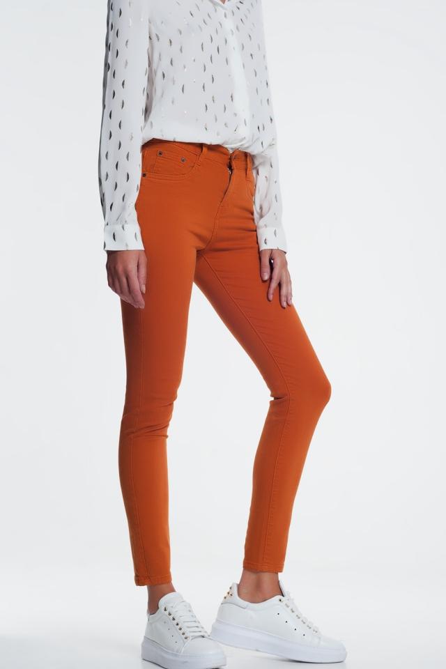 Skinny jeans in oranje