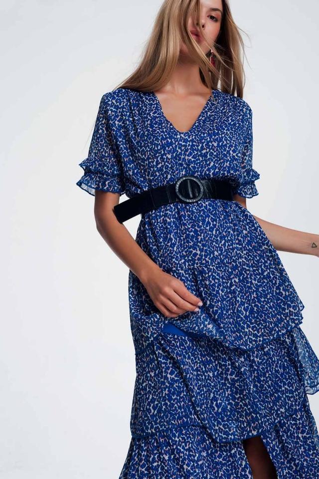 Paarse Lange jurk met ruchelagen