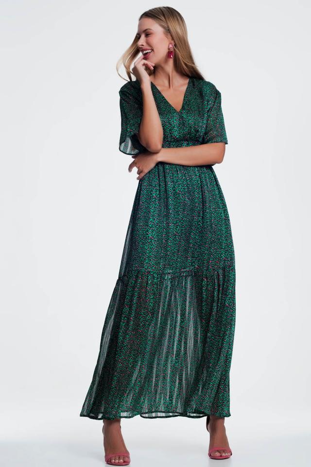 groene Maxi-jurk met laagjes en print