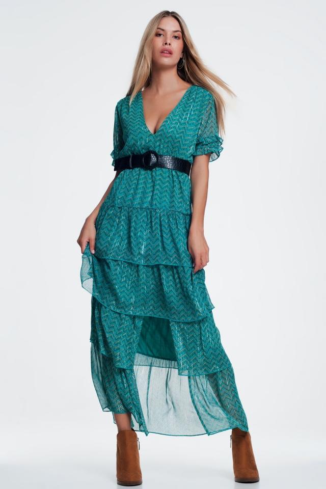 Groene Lange jurk met ruchelagen