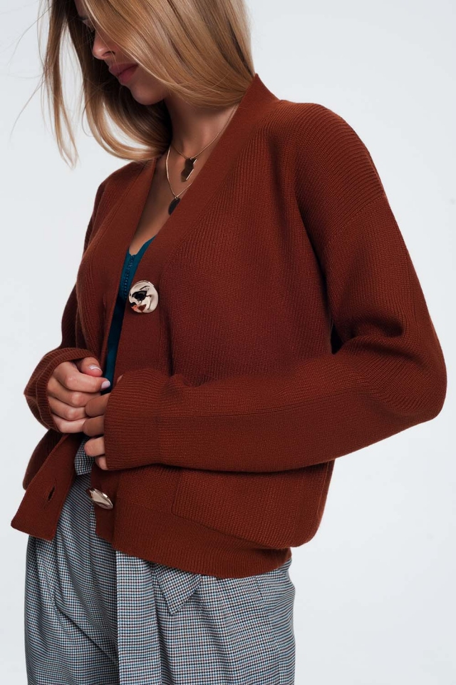bruin Vest met V-hals en knopen aan de voorkant