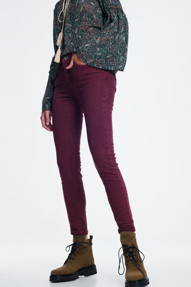Enkellange jeans bordeaux met hoge taille