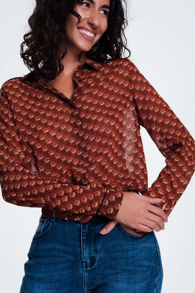 Regular fit overhemd met doorschijnend kameel patroon
