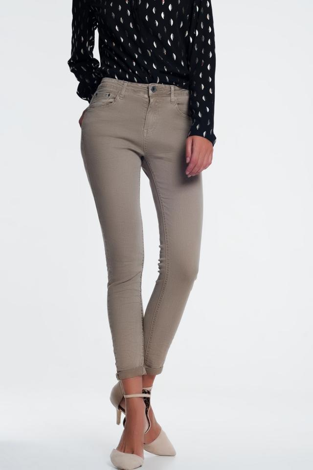 Enkellange jeans beige met hoge taille