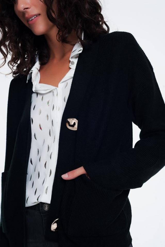 zwart Vest met V-hals en knopen aan de voorkant