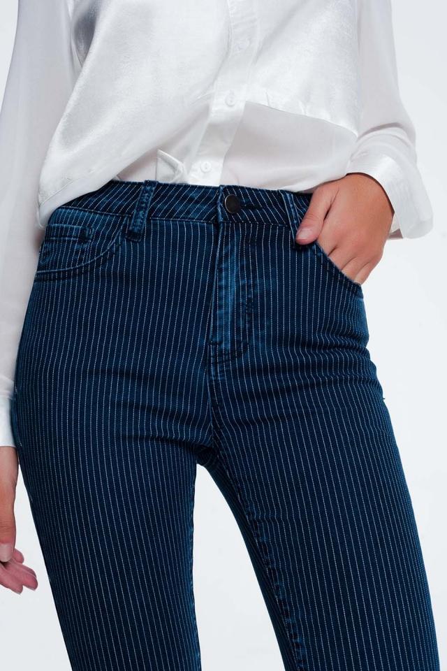 Gestreepte skinny jeans
