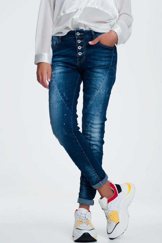 Jeans met gulp met knopen in indigo met wassing