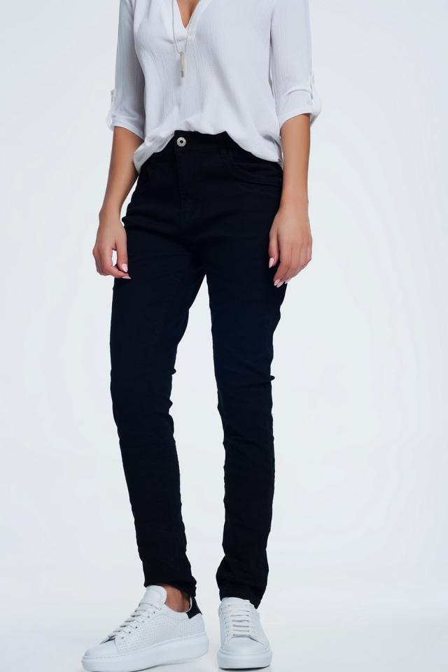 Zwarte skinny jeans met laag kruis