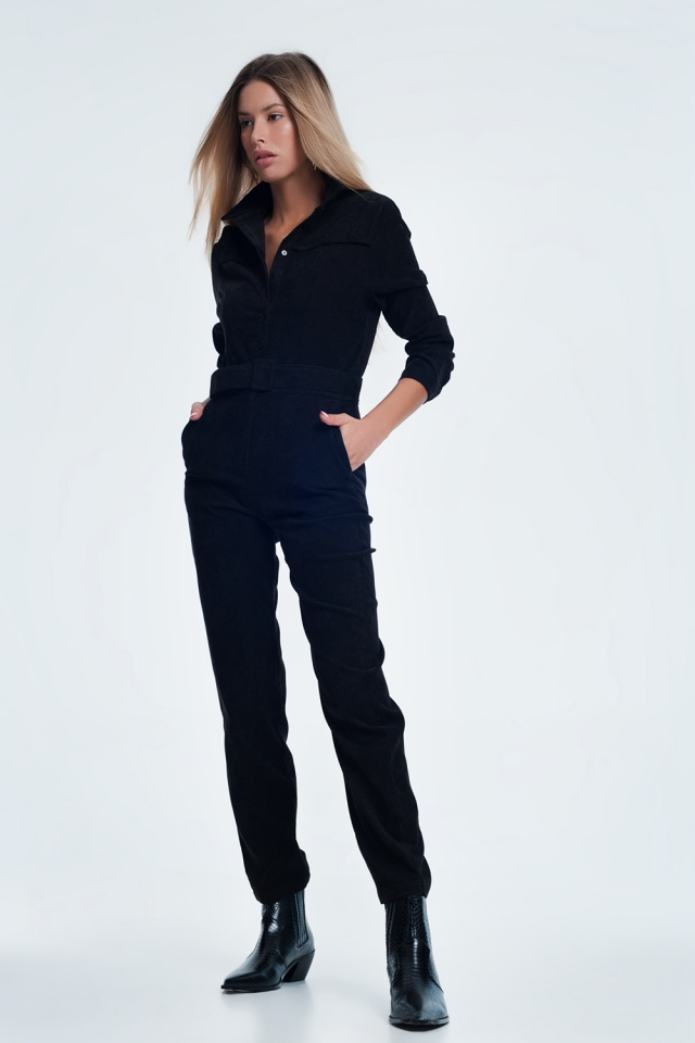 Corduroy utility jumpsuit in black