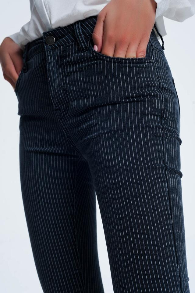 Gestreepte broek in blauw en wit