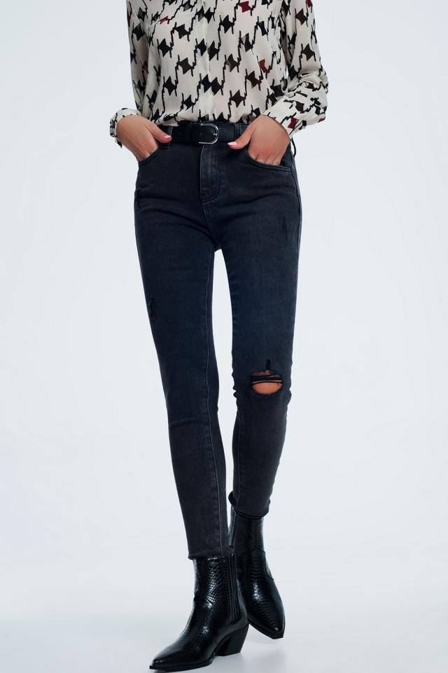 Superskinny jeans in zwart met wassing met slijtplekken