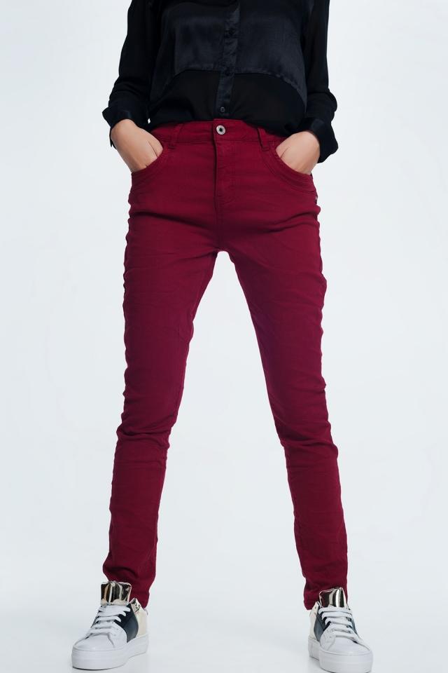 Bordeauxrode  skinny jeans met laag kruis