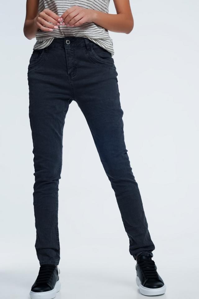 grijs skinny jeans met laag kruis
