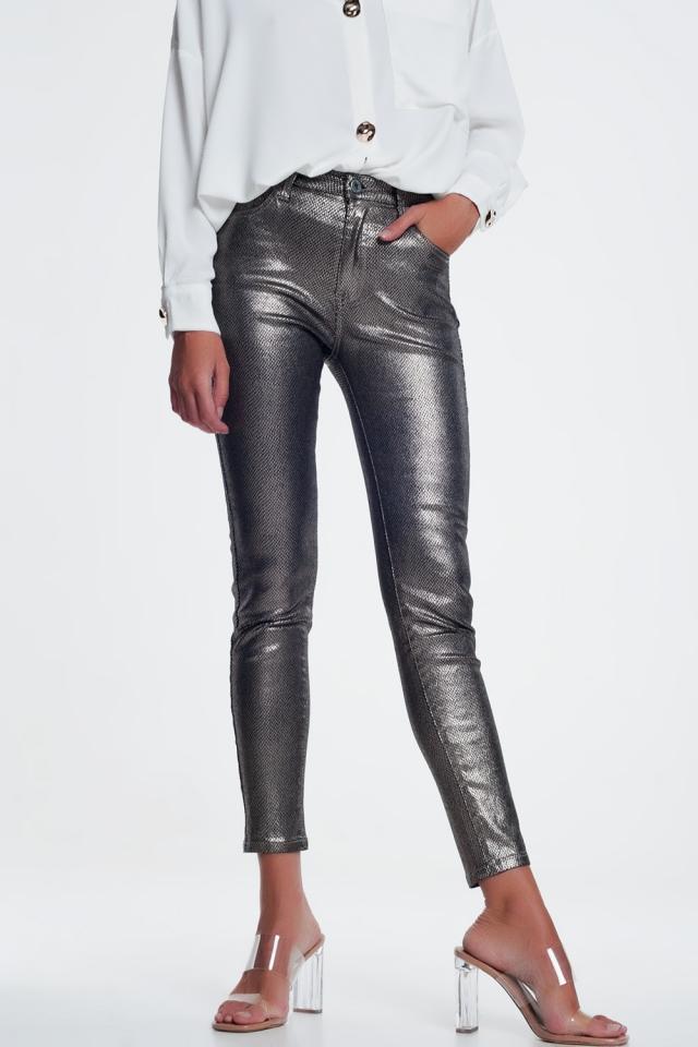 Zilvere broek met slangenprint