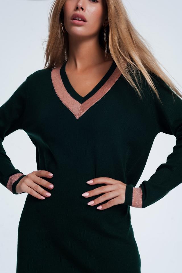 Mini groen jurk met roze strepen