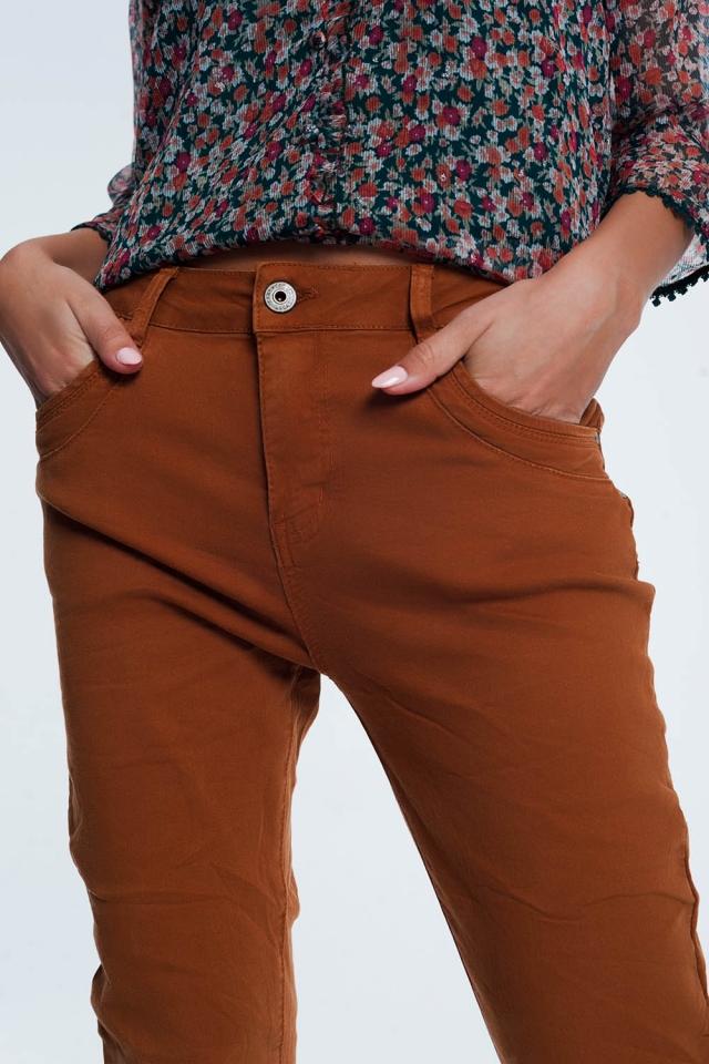 Orangerode  skinny jeans met laag kruis