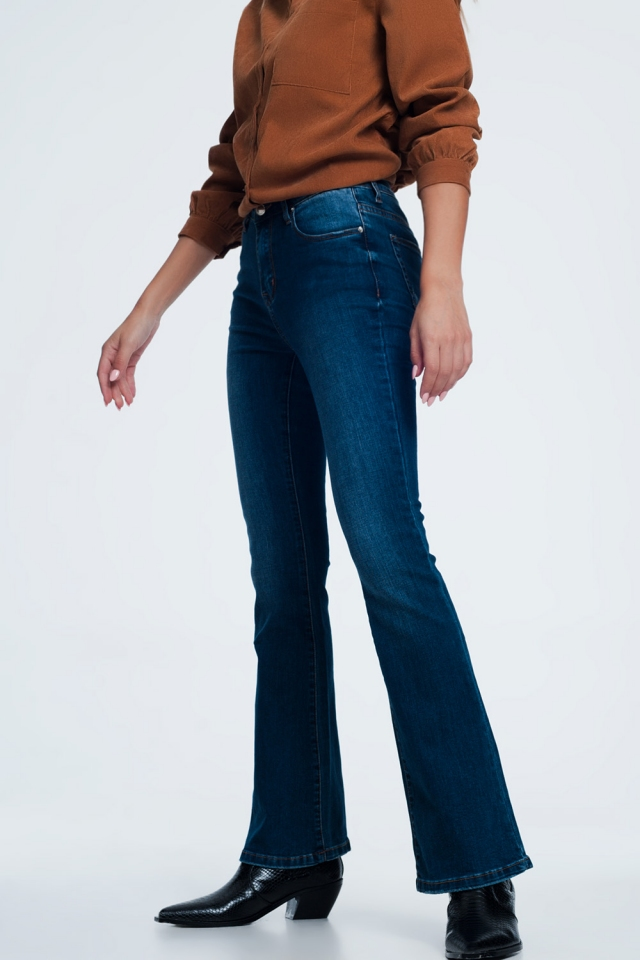 Flare jeans met donkere wassing