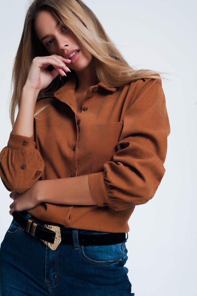 Brown Corduroy overhemd