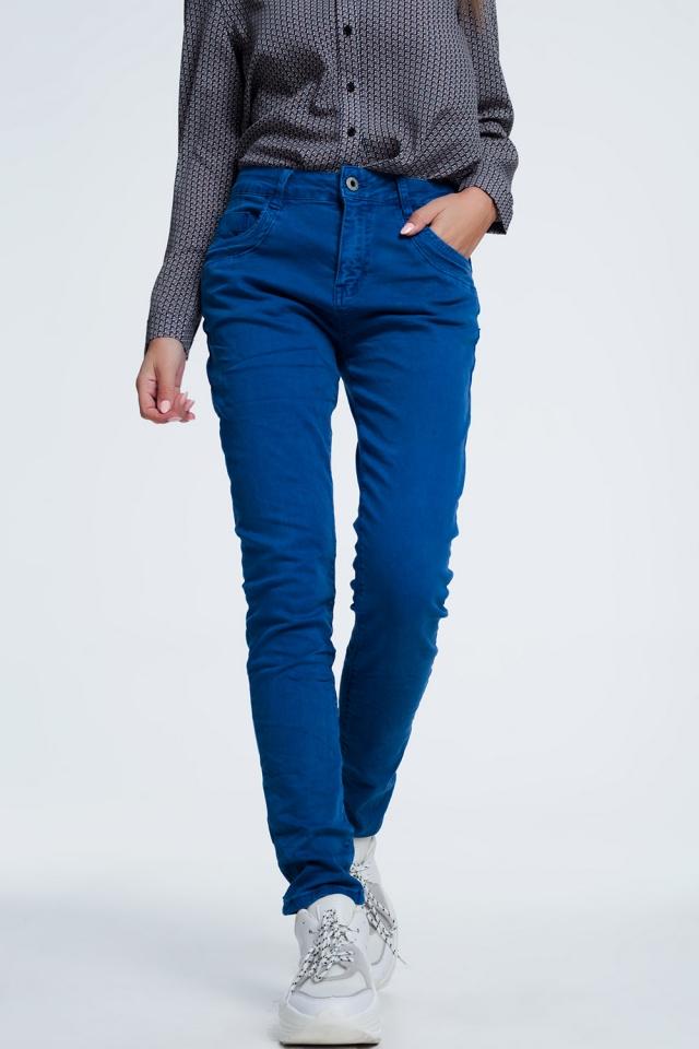 blauwrode  skinny jeans met laag kruis