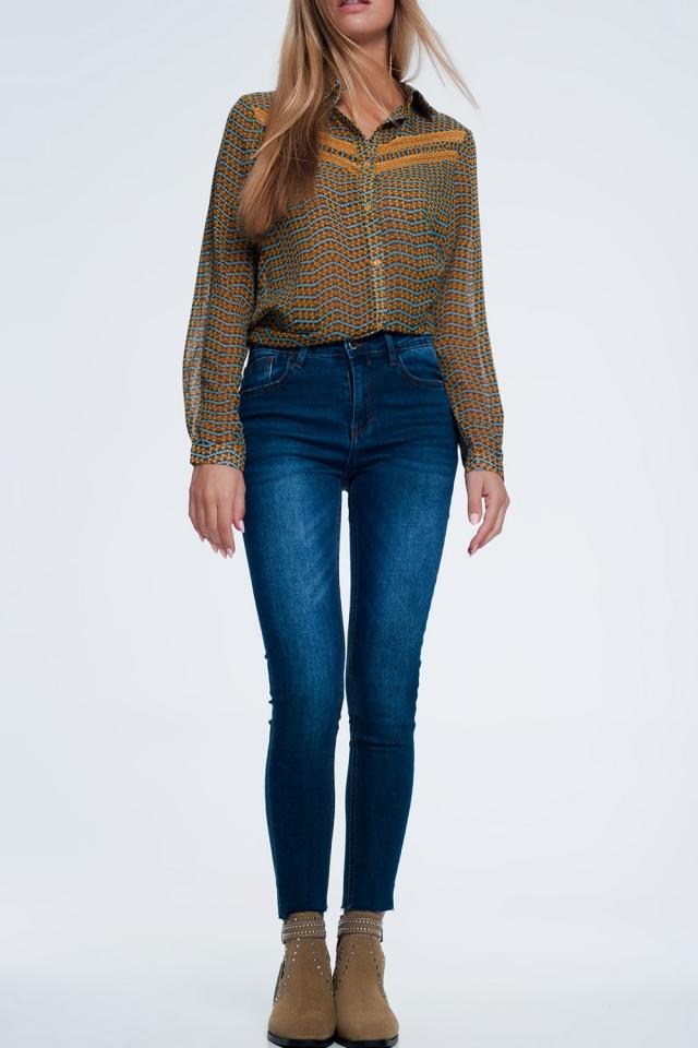 Smalle jeans met gerafelde zoom
