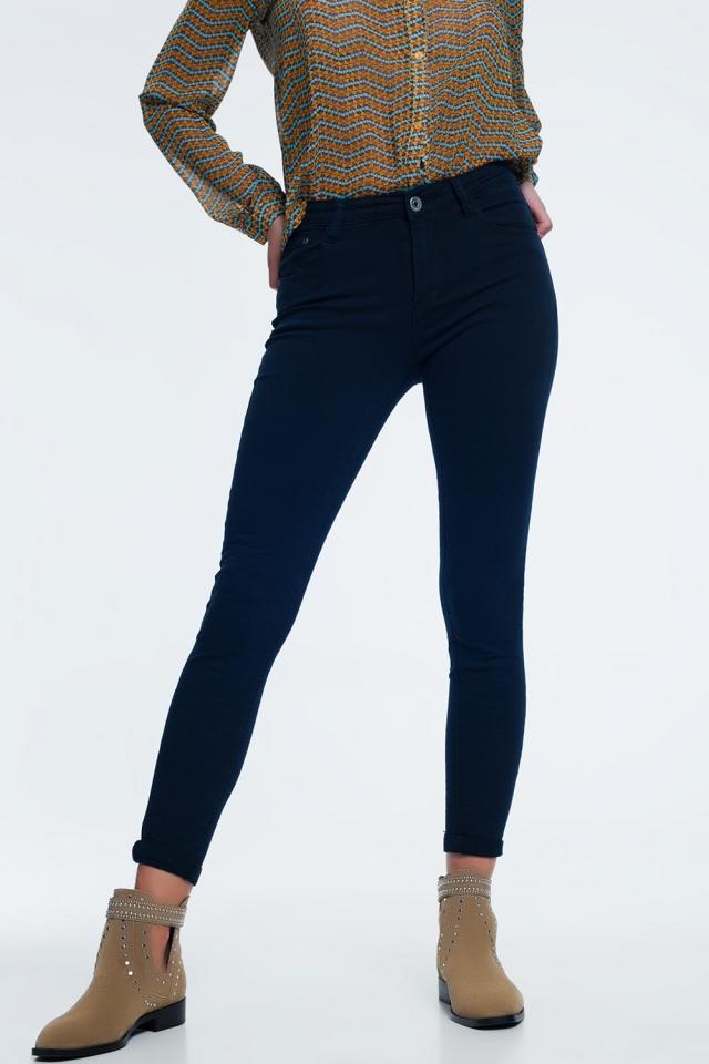 jeans navy met hoge taille