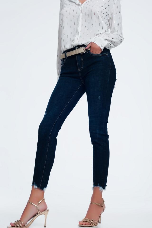 Skinny jeans met halfhoge taille en onafgewerkte zoom