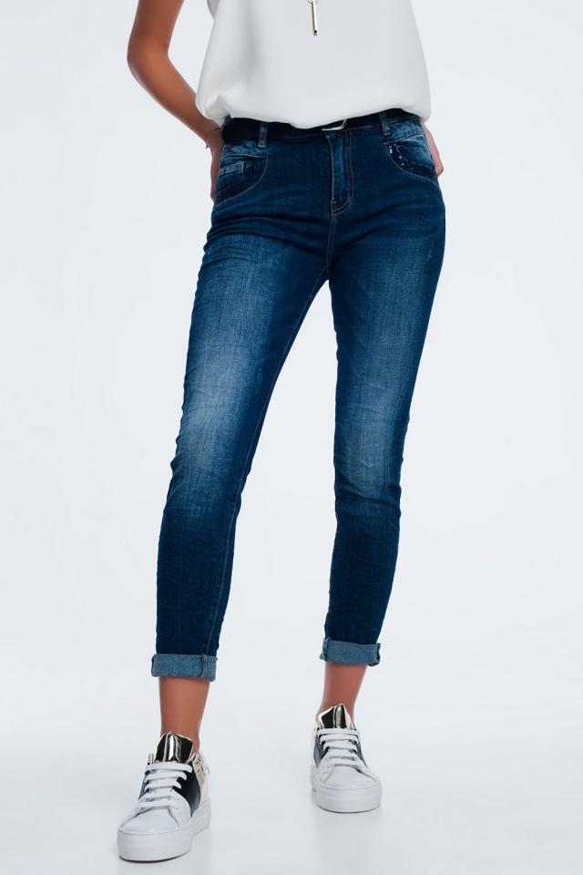 blauwe spijkerbroek met pailletten