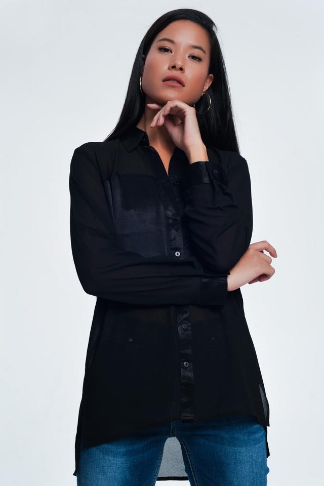 Ruimvallend t-shirt met lange mouwen van satijn Zwart